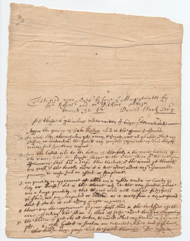 Sample manuscript page of witch trial of Goody Aryes