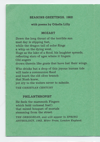 Brown university library collection harris broadsides seasons greetings 1962 with poems by othelia lilly m4hsunfo