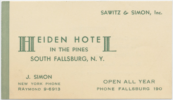 Thumbnail for Heiden Hotel, business ...