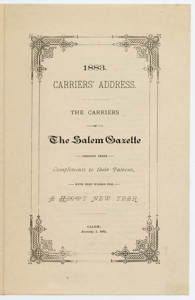 Thumbnail for 1883 Carriers' address: ...