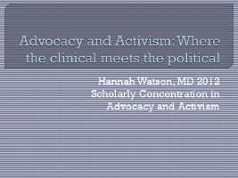 Thumbnail for Advocacy and activism: …